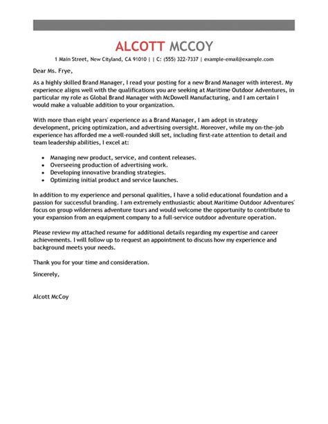 Cover Letter For Outdoor Education Best Brand Manager Cover Letter Exles Livecareer