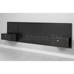 Prepac black series 9 wall mounted headboard system with 2 nightstands
