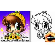 How To Draw Halloween Characters  Pumpkin Girl