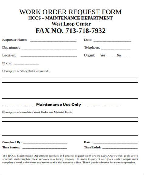maintenance work order request form sample hotels engineering
