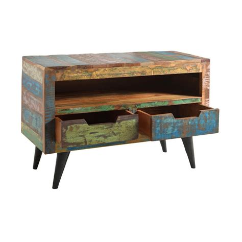 Reclaimed Wood Tv Stand   Retro Eco Friendly Wooden Media