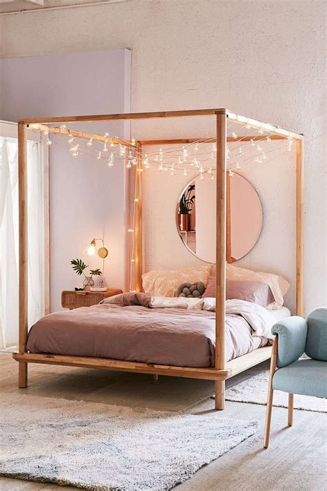 wood canopy bed frame 25 best ideas about string lights on room