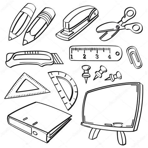 imagenes de utiles escolares a blanco y negro school stationery collection stock vector