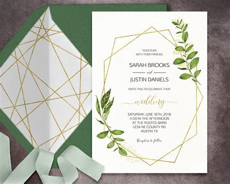 printable geometric stationery geometric wedding invitation printable green wedding