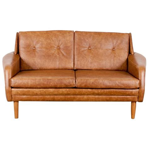 Danish Loveseat Danish Mid Century Brown Leather Loveseat At 1stdibs
