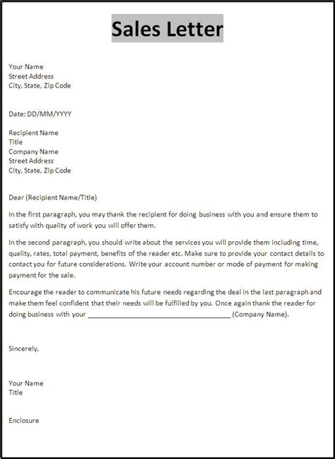 sle of up letter sales letter template free word s templates