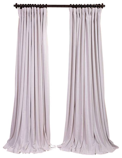 off white velvet curtains signature off white double wide blackout velvet curtain
