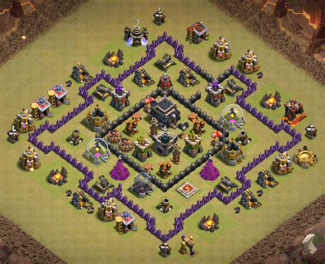 coc layout anti dragon th7 14 best th7 war base anti dragon hogs 2017 3 air