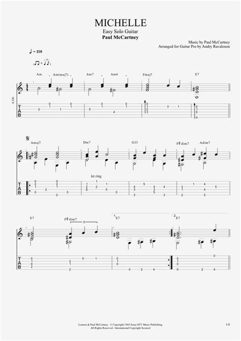 Michelle by The Beatles - easy Solo Guitar Guitar Pro Tab