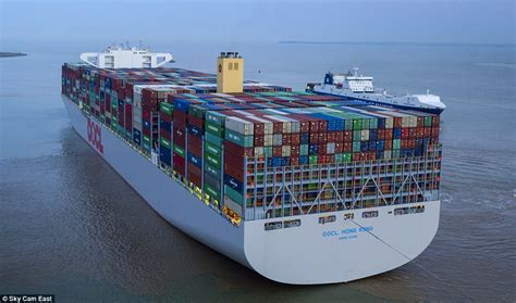 biggest shipping vessel in the world world s largest container ship comes to uk port daily