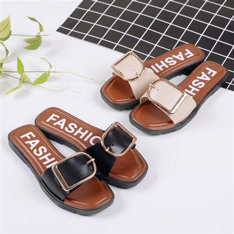 7 words slippers 2017 belt buckle slippers summer fashion non slip