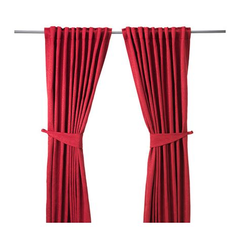 red curtains ikea blekviva curtains with tie backs 1 pair ikea