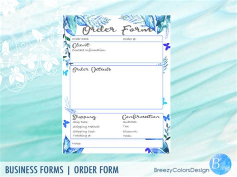 eco form template botanical order form templates handmade products eco