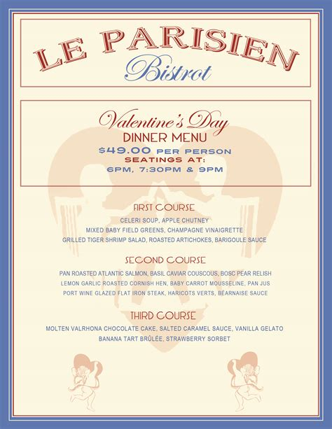 valentines dinner menu menu le parisien bistrot restaurant murray hill