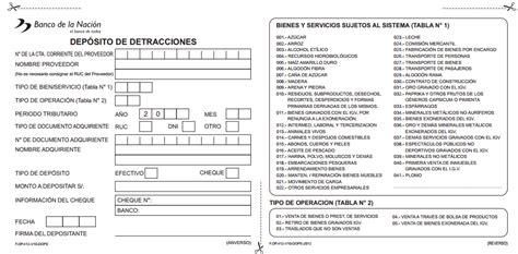 pago detracciones banco de la nacion 2016 formulario 2016 pago detracciones