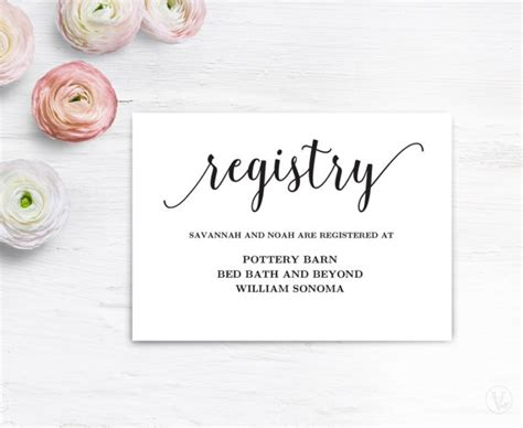 Gift Card Registry For Wedding - gift registery card template printable wedding registry card