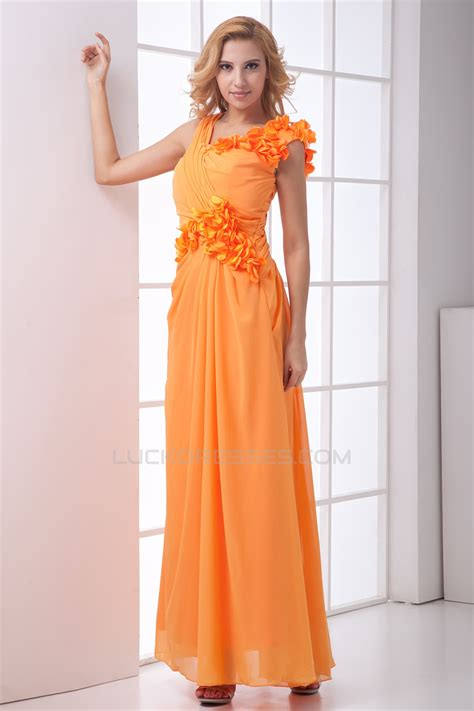 Handmade Bridesmaid Dresses - handmade flowers ankle length a line chiffon