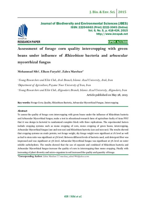 maize research papers assessment of forage corn quality intercropping with green