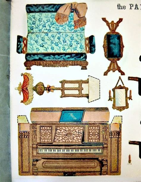 printable dolls house furniture paper model cut out paper parlor 1892 furniture victorian dollhouse furniture die cut