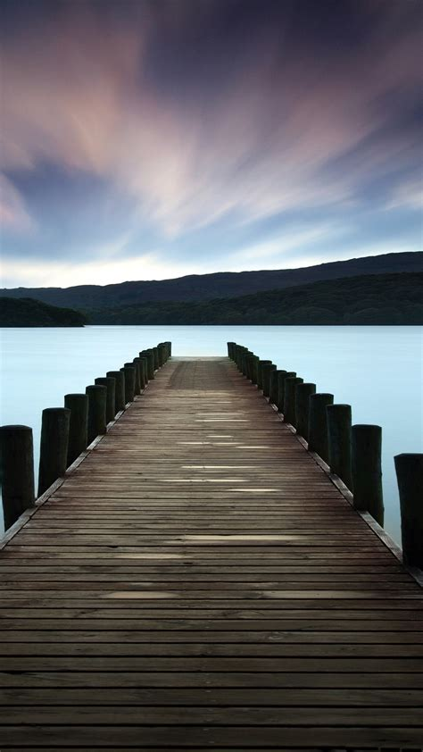 stunning lake dock colorful sky android wallpaper