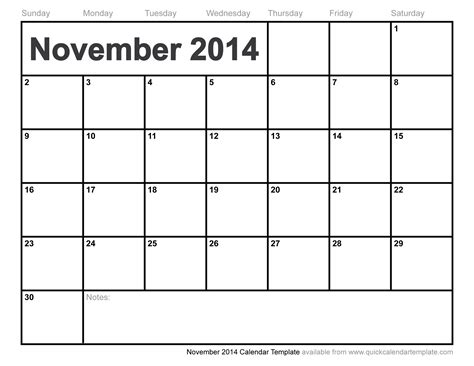 2014 monthly calendar templates november 2014 calendar template