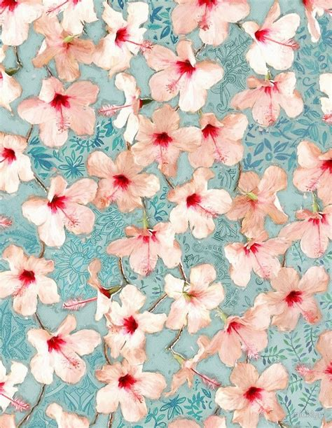 shabby chic hibiscus patchwork pattern  peach mint