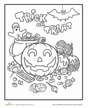 halloween coloring pages for first graders halloween candy worksheet education com