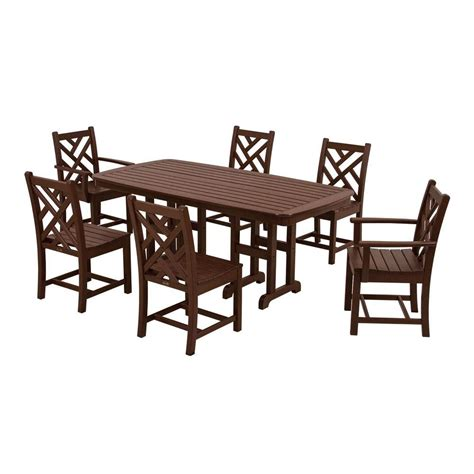 7 dining set polywood chippendale mahogany 7 patio dining set pws121 1 ma the home depot