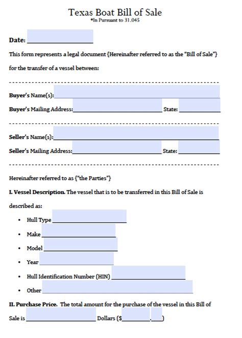 texas boat title transfer free texas boat bill of sale form pdf word doc