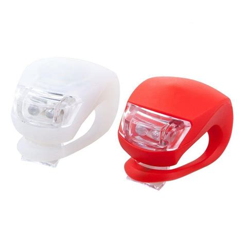 2 Led Silicone Mountain Bike Bicycle Front Rear Lights Set Lights Clip