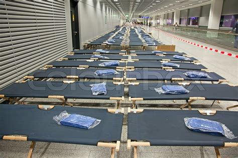 futon frankfurt frankfurt airport with temporary beds stock photo
