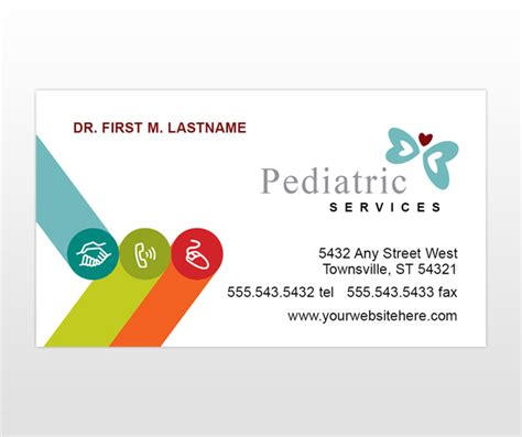 pediatric business card templates pediatrician doctors office child care services business