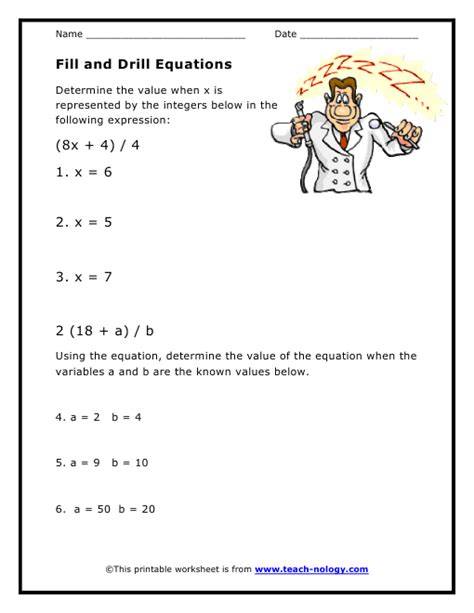 grade 5 math variables and expressions worksheets