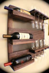 rustic cherry stained wall mounted wine rack with