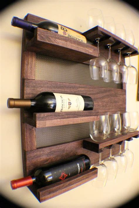 Wall Mounted Wine Cabinet by Rustic Cherry Stained Wall Mounted Wine Rack With