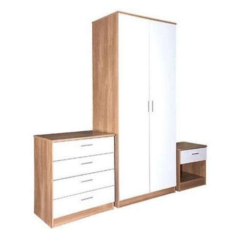 oak white gloss bedroom furniture 3 trio set