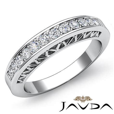 womens half wedding band platinum pave set unique