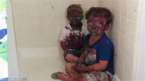 sister catches brother in bathroom brothers covered themselves in paint after finding art