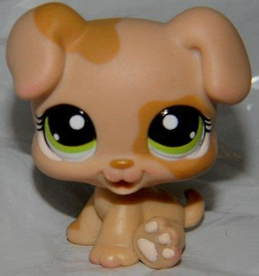 lps puppies littlest pet shop lps caramel brown baby puppy green 1353