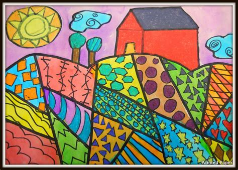pattern landscape art painted paper folk art landscapes