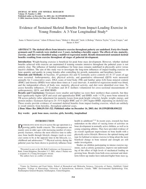 Pdf Evidence Of Sustained Skeletal Benefits From Impact
