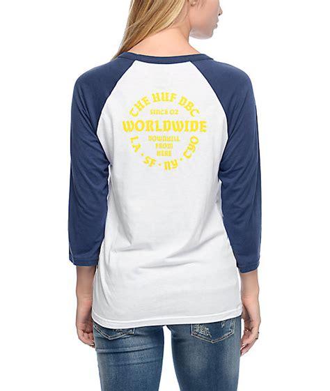 Tshirt Huf Dbc huf dbc white navy baseball t shirt