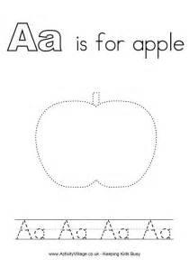 tracing alphabet a