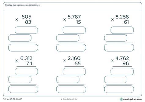 problemas para ni os de cuarto de primaria ficha de hallar el resultado a las multiplicaciones para