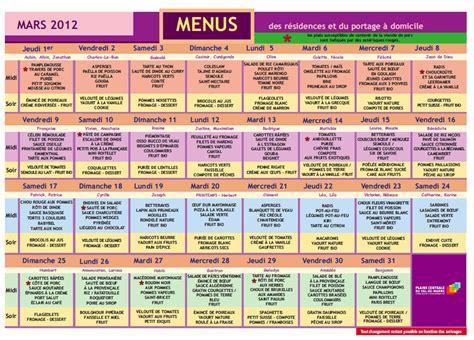 Calendrier 8 Mars 2012 Menus Des R 233 Sidences Et Portages 224 Domicile Pour Le Mois