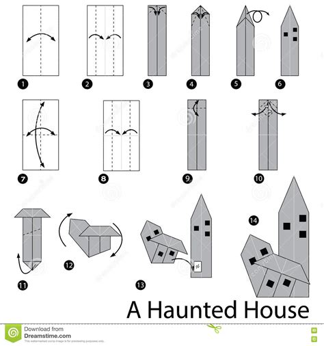 How To Make A Paper Haunted House - step by step how to make origami a haunted