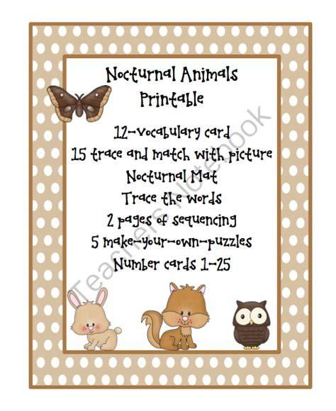 printable nocturnal animal pictures nocturnal animals kindergarten images