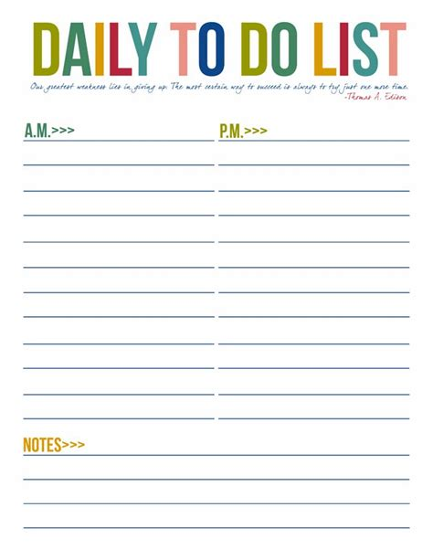 Daily To Do List Template by Daily To Do List Free To Do List