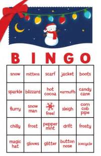 Free Family Christmas Party Games - snowman family with lights free christmas bingo game