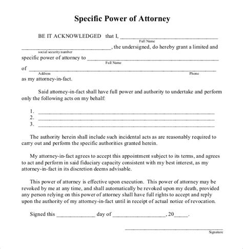 business power of attorney template power of attorney templates best business template